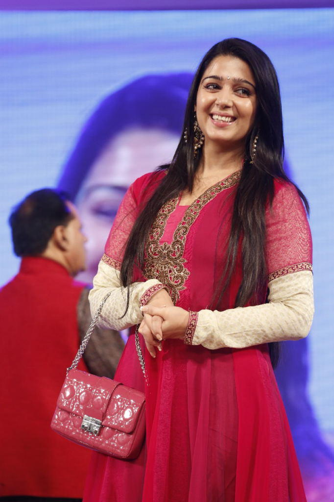 Charmy Kaur Stunning Look In Red Ensembles At TSR TV9 Film Awards Function
