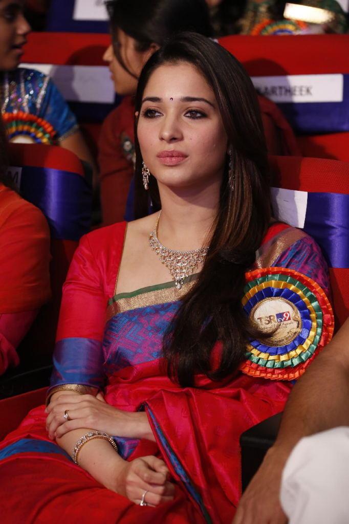 Tamannaah Bhatia In Saree Glamour Look At TSR TV9 Film Awards Function