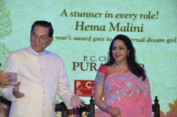 Hema Malini In Saree Gorgeous Look At 21st P.C. Chandra Purashkaar Award Ceremony