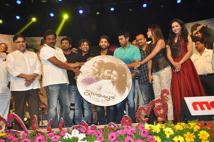 Allu Aravind,V. V. Vinayak,Puri Jagannadh,Allu,Ram Charan,Amala,Catherine And Others Graced At Iddarammayilatho Audio Launch Function