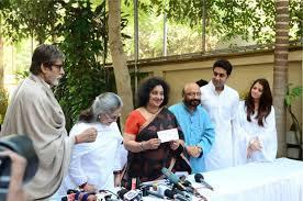 Amitabh,Jaya,Abhishek And Aishwarya Address The Media At Home During The Girl Child Support Event