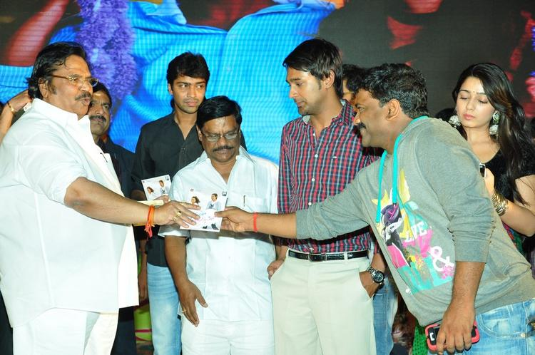 Dasari Narayana Takes CD From Chandrabose,Allari,Varun And Charmy Present At Saradaga Ammaitho Movie Audio Launch Function