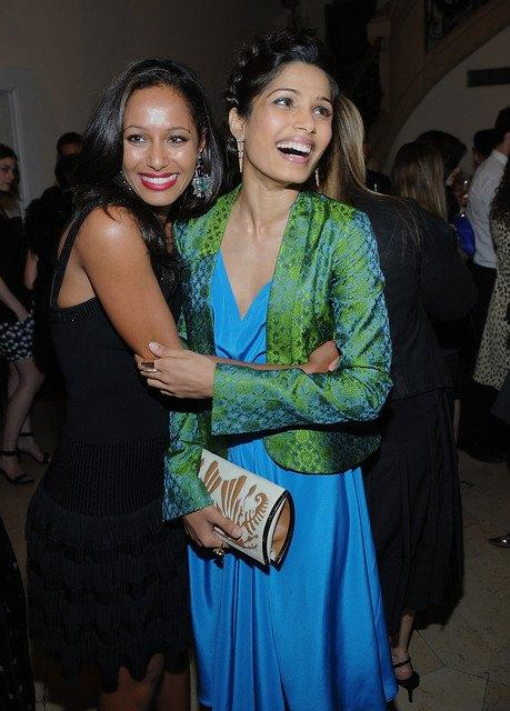 Actress Freida Pinto In Maiyet Varanasi Silk Capsule Collection For Private Dinner