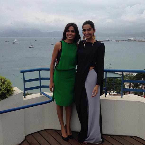 Freida And Sonam Smiling Posed For Camera At Hotel Martinez In Cannes 2103