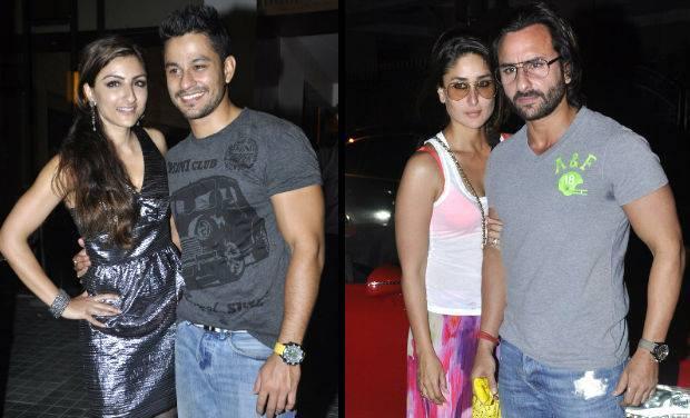 Soha,Saif And Kareena At Kunal Khemu Birthday Bash