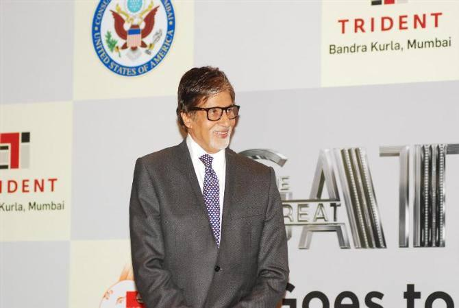 Big B Spotted At The Press Conference Of The Great Gatsby In Gujarat