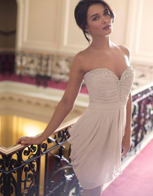 Amy Jackson Spicy Shoot In Sweetheart Embellished Drape Dress