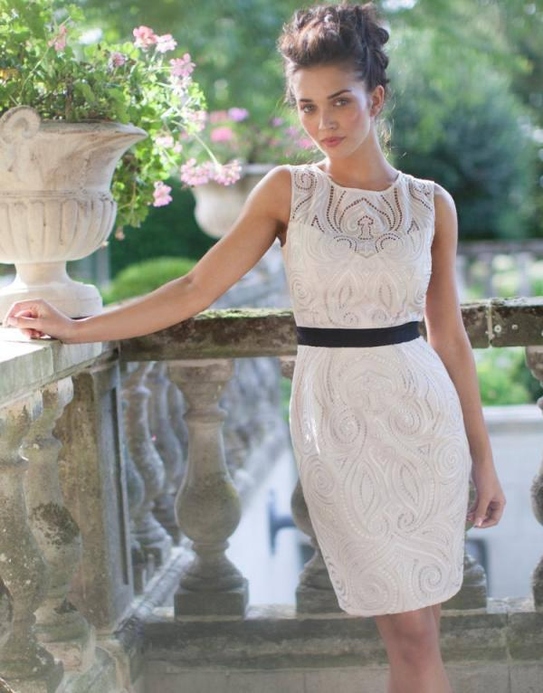 Amy Jackson Stunning Hot Look In Embroidered Detail Shift Dress