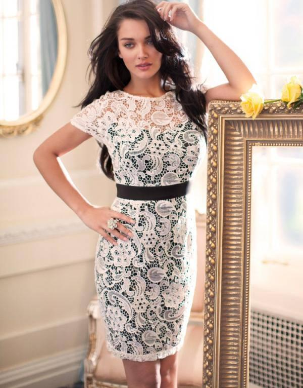 Lipsy V I P Waxed Lace Pencil Dress Amy Jackson Dazzling Photo