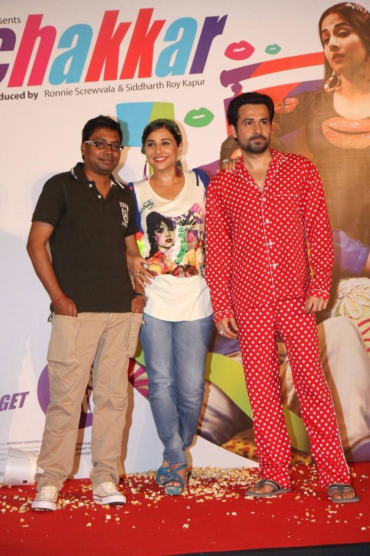 Raj Kumar,Vidya And Emraan Posed At The Music Launch Of Ghanchakkar Song Lazy Lad