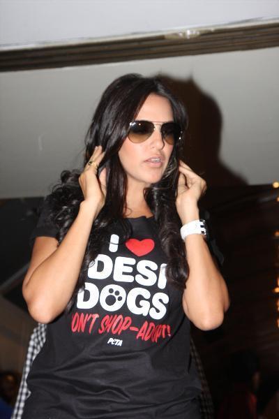Neha Dhupia Shows Off Her Desi Dog Top At PETA's Pro-Veg Ad Launch