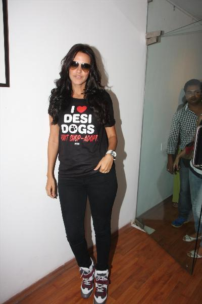 Neha Dhupia Strikes A Pose At The PETA's Pro-Veg Ad Campaign 2013