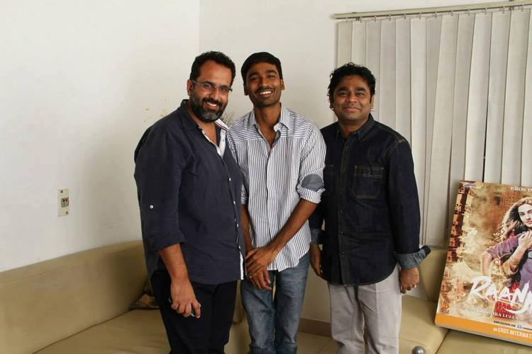 A.R.Rahman,Dhanush And Aanand Pose For Camera During Raanjhanaa Album Launch Event