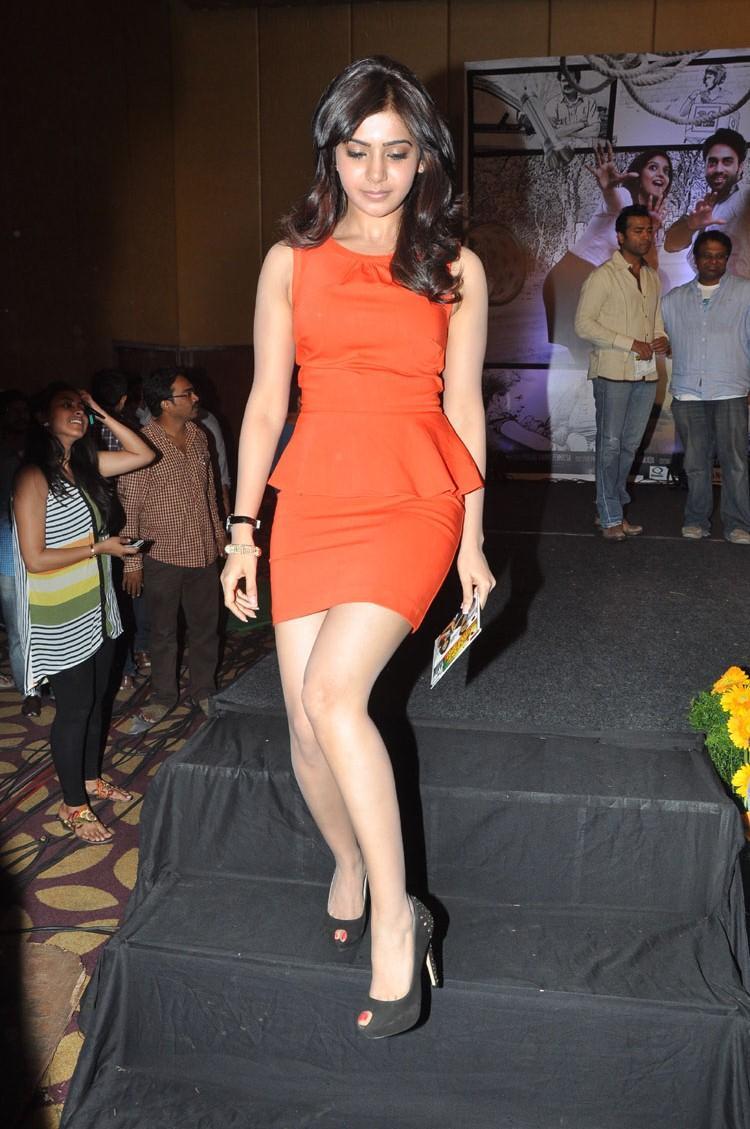 Samantha In Short Dress Milky Legs Show Sexy Look At Bangaru Kodipetta Movie Audio Launch Function