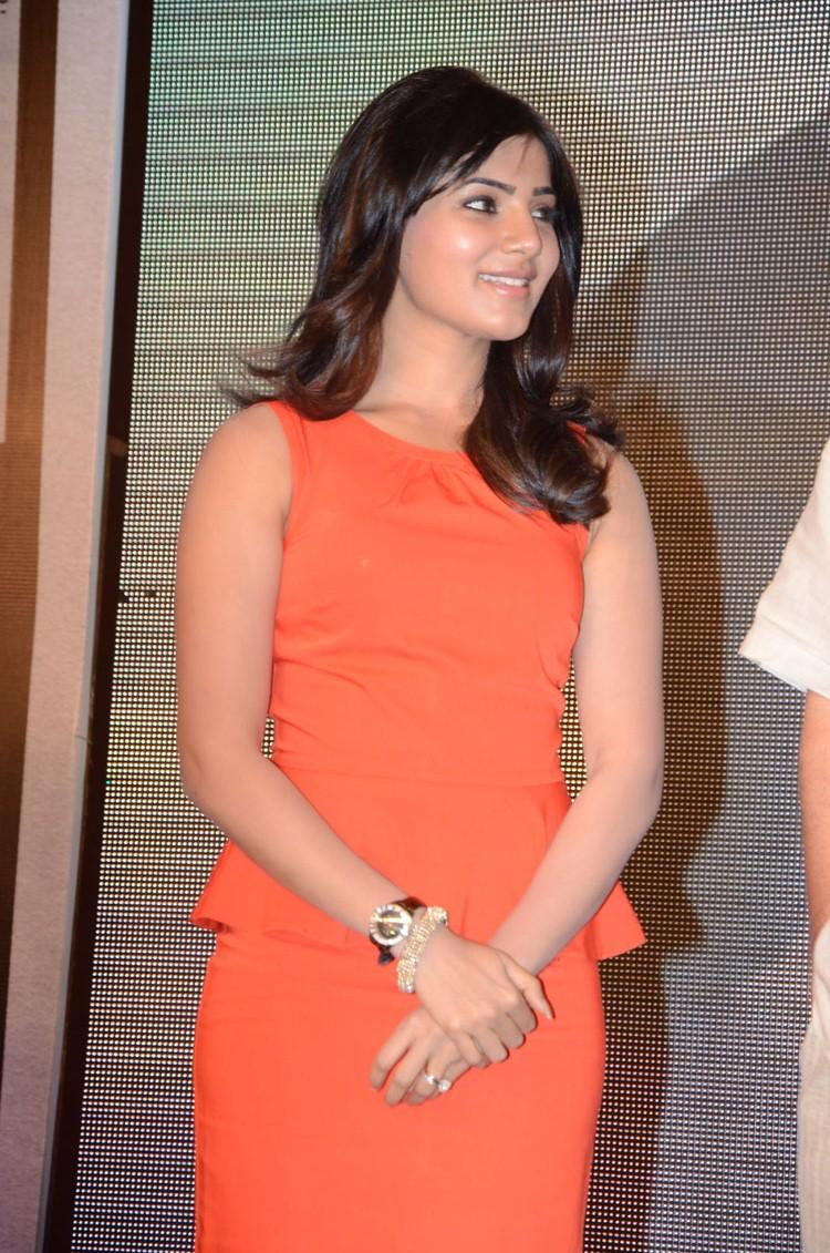 Samantha In Short Orange Color Dress Stylish Look At Bangaru Kodipetta Movie Audio Launch Function