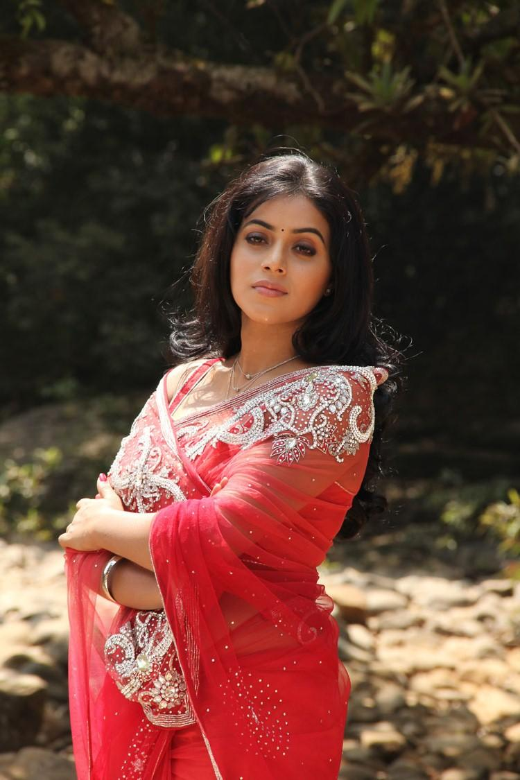 Poorna In Red Saree Gorgeous Look Still From Telugulo Naaku Nachani Padam Prema Movie