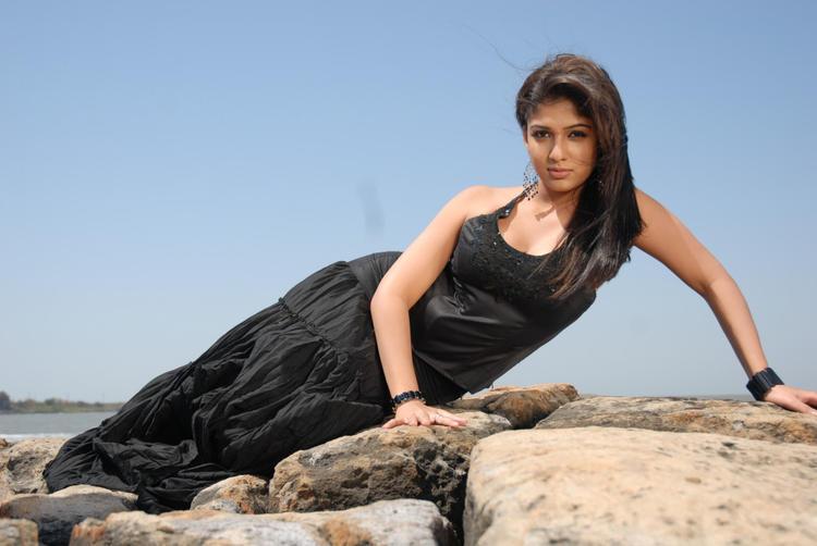 Nayanthara In Black Dress Cool Pose Photo Still