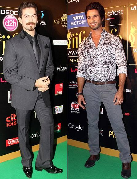 Shahid And Neil Pose On Green Carpet At 14th IIFA Rocks 2013