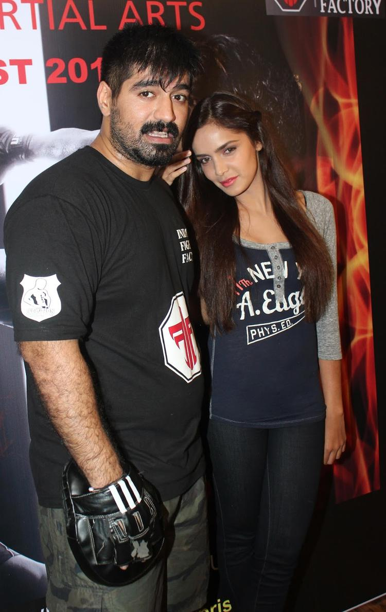 Smiling Beauty Shazahn Padamsee During The Launch Of Gold Gym's Mixed Martial Arts Event