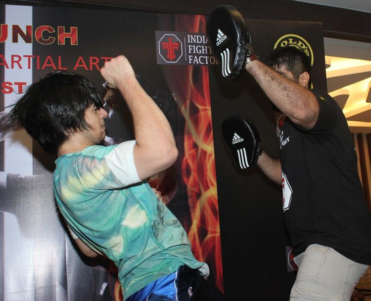 Vivaan Shah Action Pose At Gold Gym's Mixed Martial Arts Launch Event