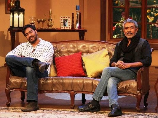 Ajay Devgan And Prakash Jha On The Sets Of Comedy Nights With Kapil Show During The Promotion Of Satyagraha Movie