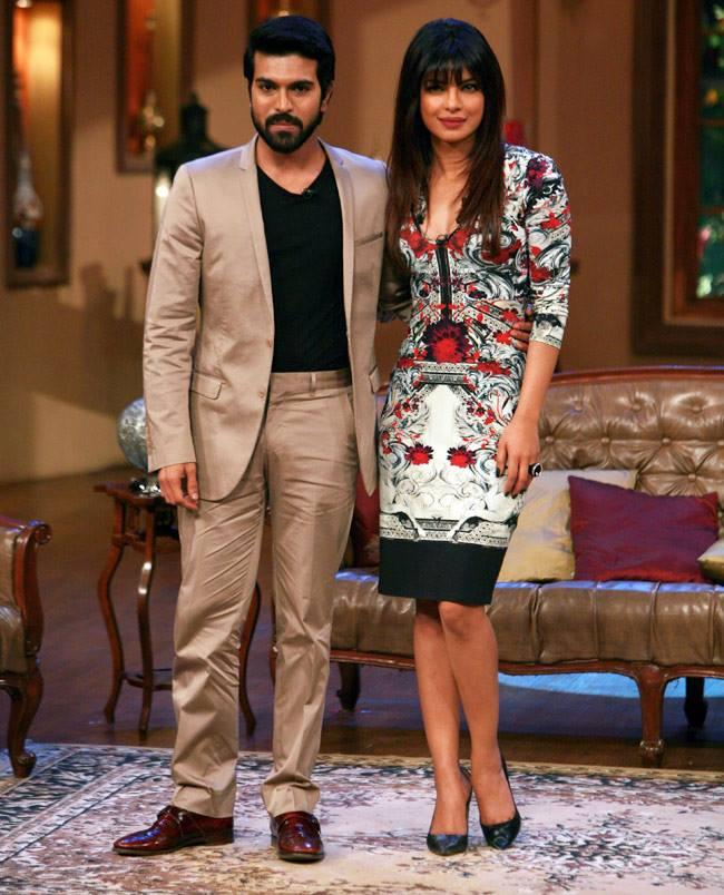 Priyanka Looked Good In A Knee Length Dress While Ram Charan Looked Dapper In A Suit On The Sets Of Comedy Nights With Kapil
