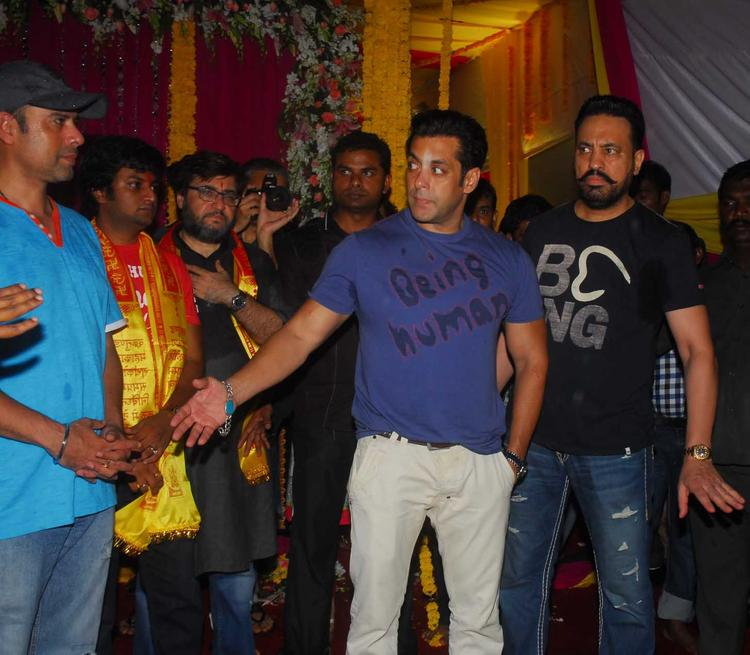 Salman Khan During The Ganesh Visarjan At His Residence