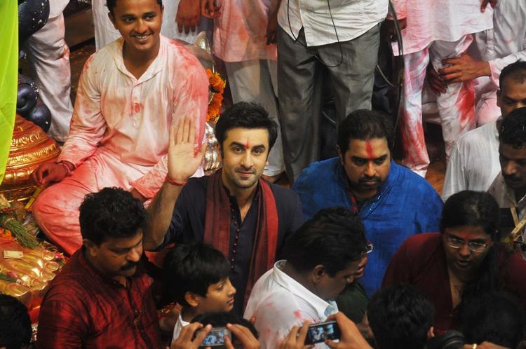 Ranbir And Shankar Present At Lalbaugcha Raja Ganpati Pandal