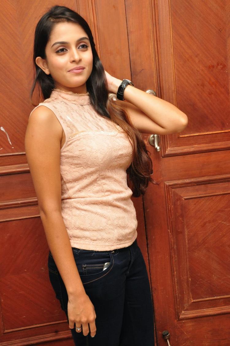 Sheena Shahabadi Strikes A Pose At Nuvve Naa Bangaram Movie Logo Launch Function