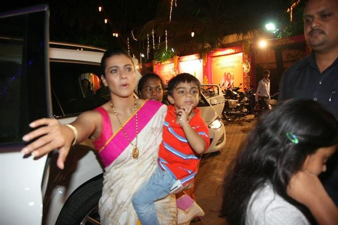 Kajol Spotted At Durga Puja With Her Son Yug And Daughter