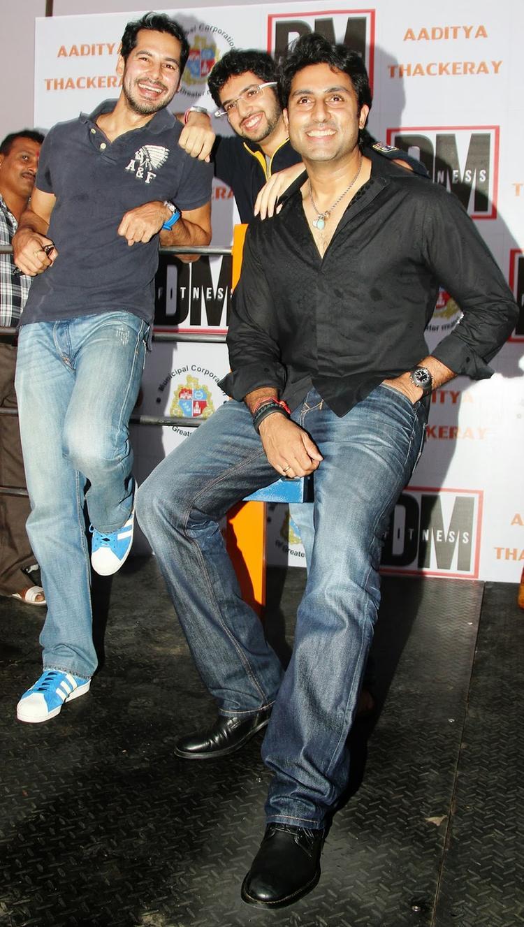 Bollywood Actor Abhishek Along With Aaditya Thackeray Inaugurated Actor Dino Morea's Fitness Centre At Worli Sea Face In Mumbai