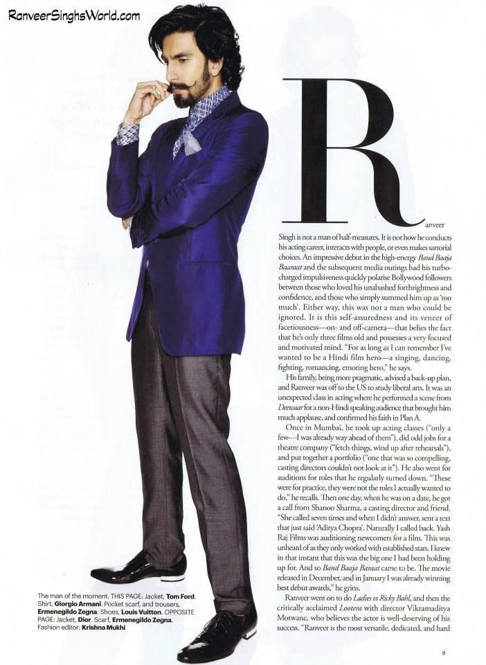Ranveer Singh Dashing Look Shoot For Harper's Bazaar Man Nov 2013 Issue