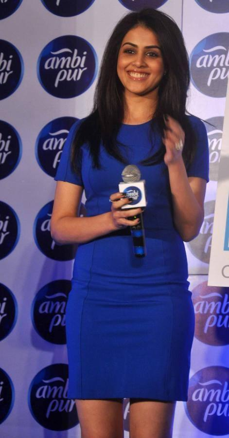 Sizzling Genelia Open Smile Pic At The Launch Refresh Your Love Campaign By Ambi Pur