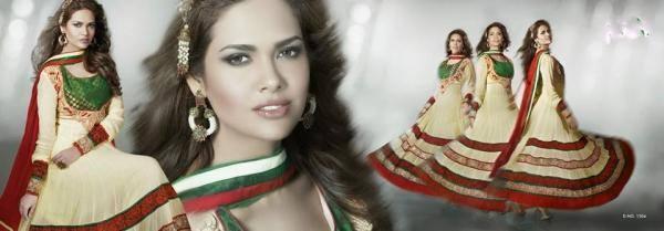 Esha Gupta Photo Shoot In Cream Color Beautiful Salwar Suit