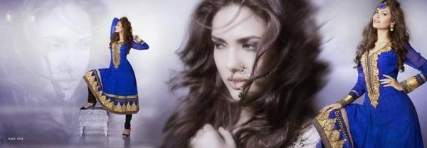Esha Gupta Sweet Blue Color New Designer Wear Photo Shoot