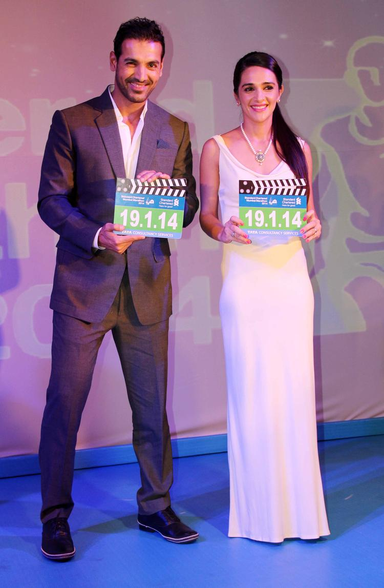 John Abraham And Tara Sharma Smiling Pic During The SCMM Press Conference
