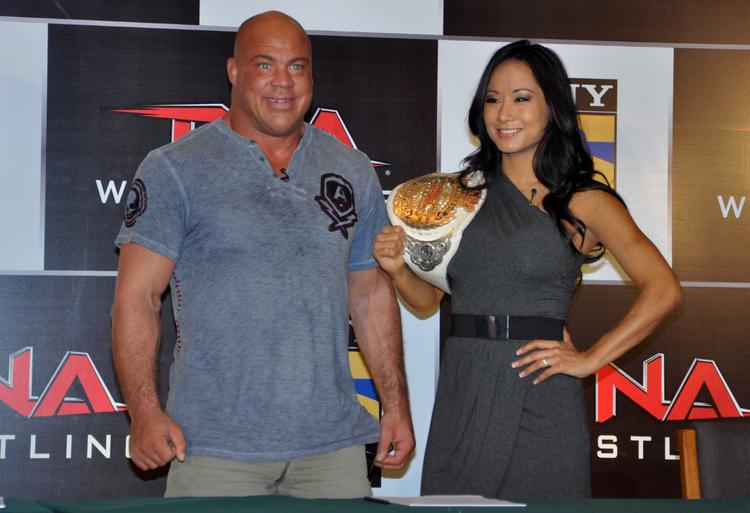 Gail Kim And Kurt Angle Posed During The Press Conference For Sony Six And TNA