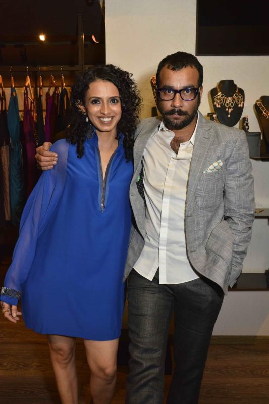 Aparna Badlani Smiling Pose With A Friend At Amit Agarwal Collection Preview Event