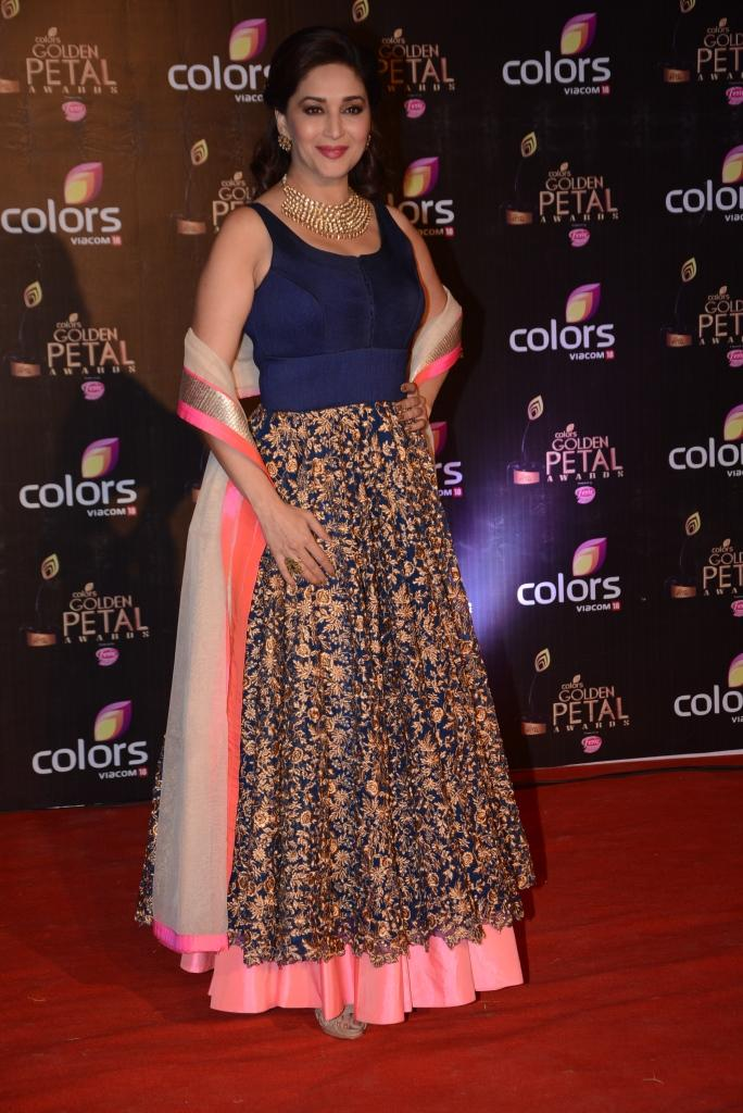 Madhuri Dixit Smashing Attractive Look In Red Carpet At Colors TV 3rd Golden Petal Awards 2013
