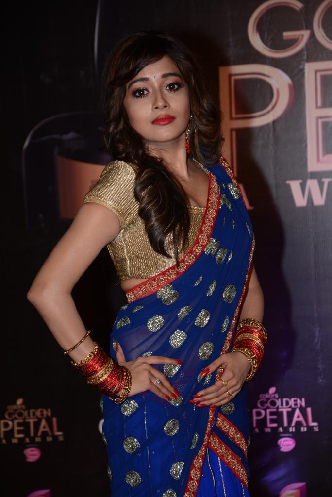 Tina Dutta Fashionable Look In Saree At Colors TV 3rd Golden Petal Awards 2013