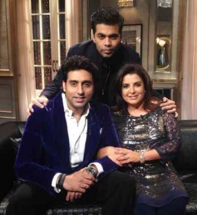 Abhishek,Farah And Karan Pose For Camera At Koffee With Karan 4 Show