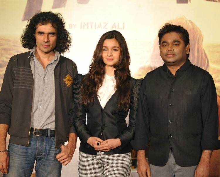 Imtiaz,Alia And A R Rahman Pose For Camera At The Music Launch Of Highway