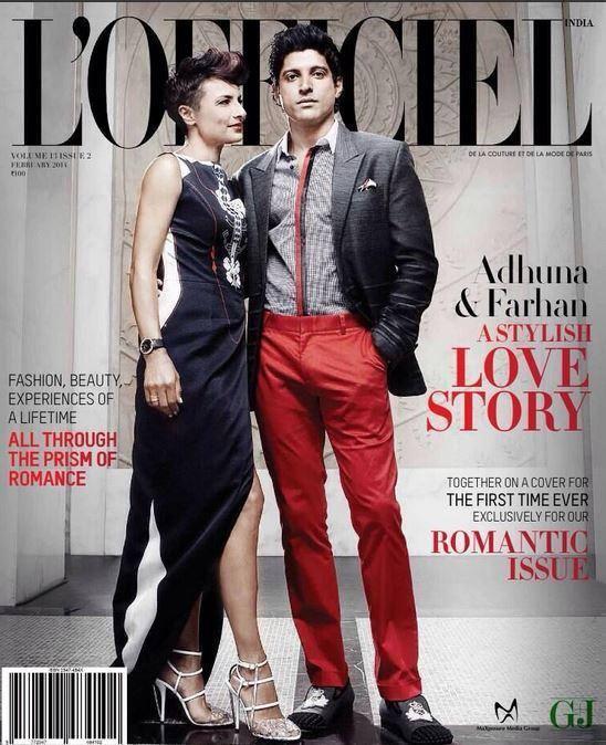 Farhan and Adhuna Akhtar on cover LOfficiels magazineMaw