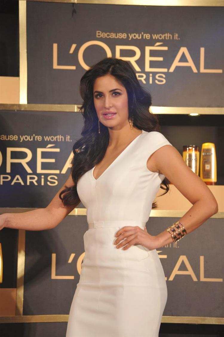 Katrina Kaif In White Dress At The Launch Of  L'Oreal Paris' '6 Oil