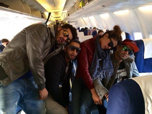 Gunday Team Photo Shoot In Flight During Promotion Gunday In Delhi