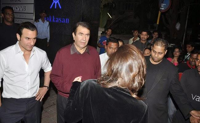 Saif Ali Khan And Randhir Kapoor At Randhir Kapoor's Birthday Bash