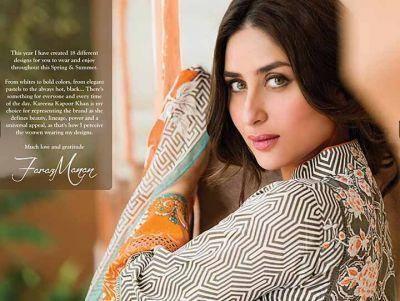 Kareena Kapoor Khan Attractive Look Pose For Faraz Manan's Crescent Lawn 2014 Collection
