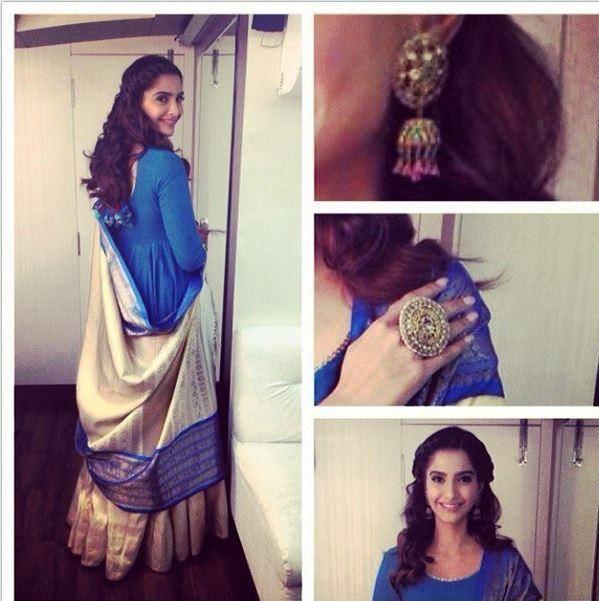 Sonam Kapoor Exposing Her Beautiful Gaurang Shah Creation And Jewellery