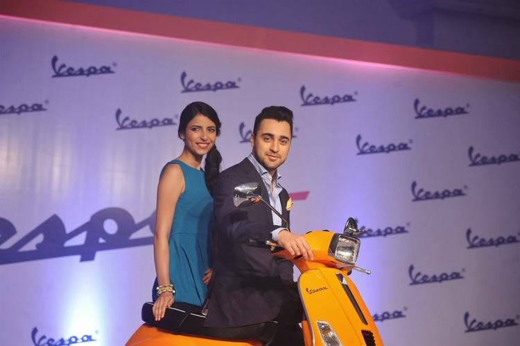 Imran Khan Dazzling Cool Look During The Launch Of Piaggio Vespa Automatic S Scooter