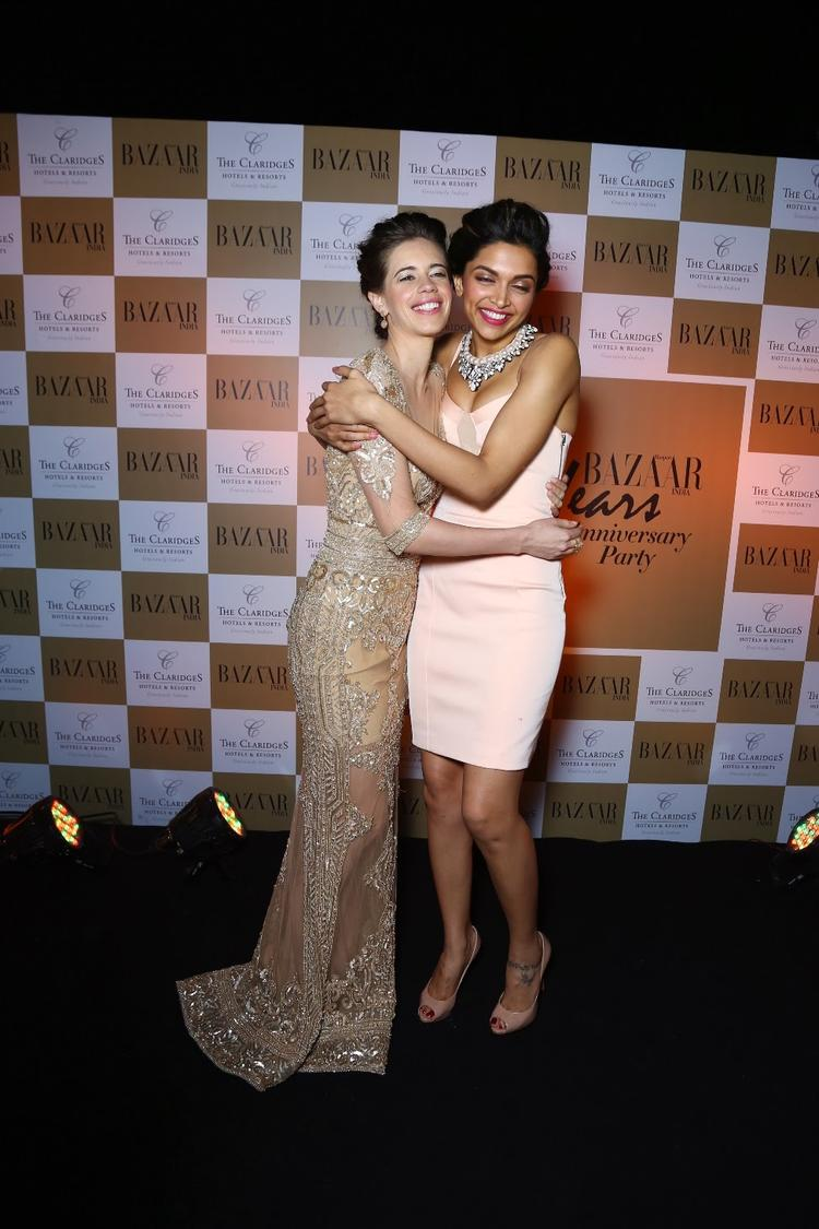Kalki Koechlin And Deepika Padukone Hugs To Each Other At The 50th Issue Of Harper's Bazaar